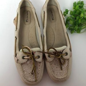 Sperry top-sider blush suede and rhinestone shoes